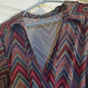 Dresses & Skirts - Chevron print faux wrap dress